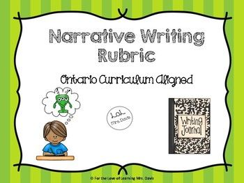Narrative Rubric (Ontario Curriculum Aligned) - english, language arts, writing, rubric, narrative, story, short story, assessment, creative writing, grade, school, education, primary, junior