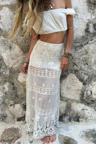 Boho style. White top long transparent skirt. Summer women fashion outfit clothing style apparel @roressclothes closet ideas