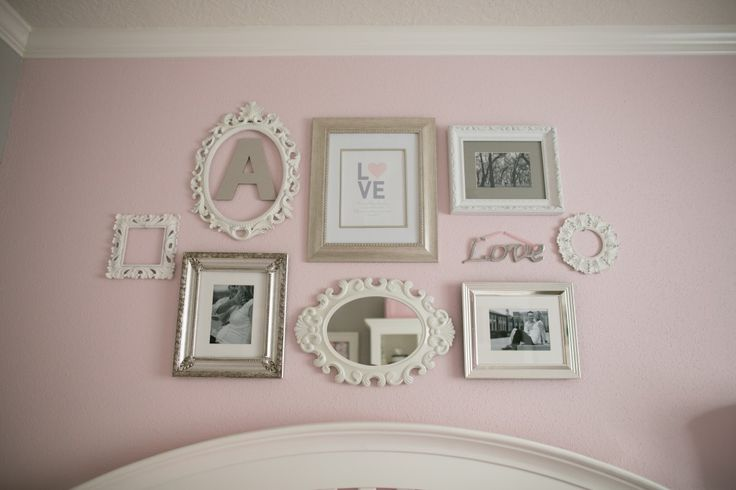 Elegant, girly #gallerywall in this adorable #nursery: Elegant Nurseries, Wall Frames, Galleries Wall, Frames Collage, Cribs, Baby Girls Rooms, Pictures Wall, Girls Rooms Wall Collage, Little Girls Bedrooms