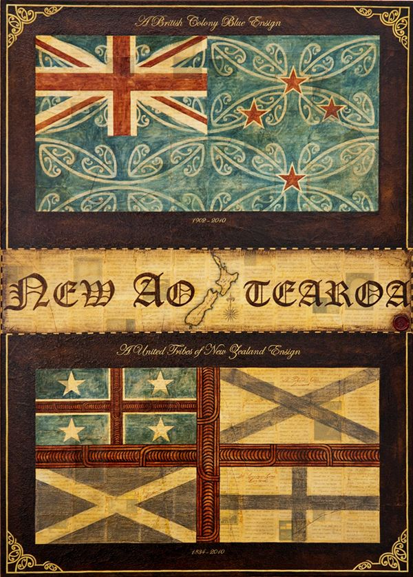 Titile: A New Aotearoa Ensign Size: 100cm x 72cm Medium: Ink, watercolour, gouache, graphite, shellac, paper on canvas. Year: 2010