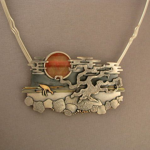 'Sunset' necklace by Ahlene Welsh. Sterling silver, 14k gold, cat's eye.