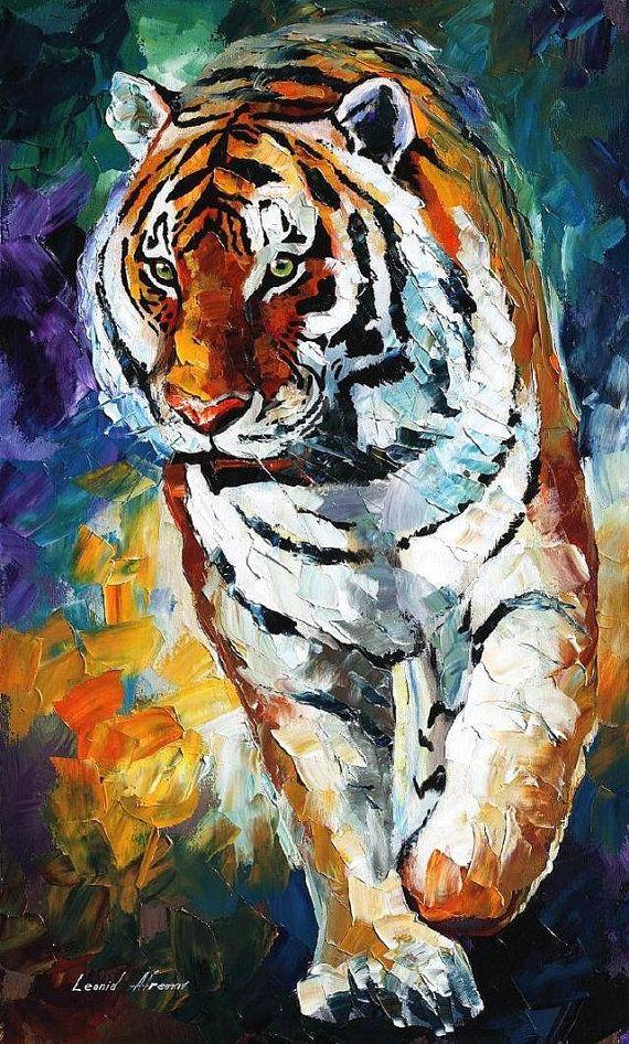 Bengal Tiger Palette Knife Nursery Animal by AfremovArtStudio