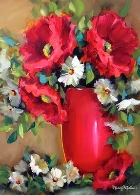 Little Breezy Red Poppies by Nancy Medina, painting by artist Nancy Medina