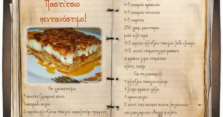 Συνταγές, αναμνήσεις, στιγμές... από το παλιό τετράδιο...: Ένα παστίτσιο μοναδικό σε γεύση!