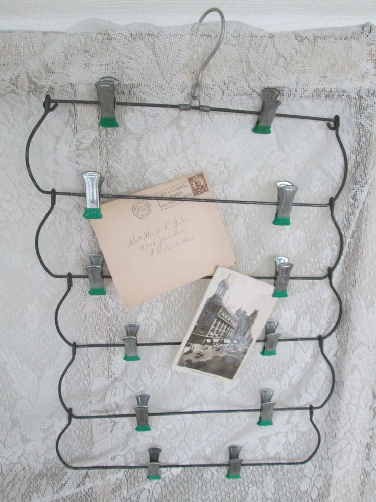 Vintage Metal Skirt Pant Hanger clips Folding Hanger Large Paper Clip Wire  Clothes Hanger,Photo Postcard Display,Jewelry Display, Prop