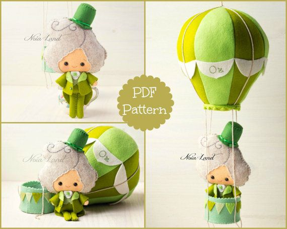 PDF. The wizard of Oz and his hot air  baloon. Oz pattern. Plush Doll Pattern…