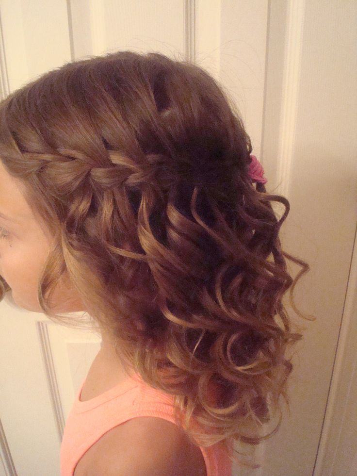 waterfall braid with curls for flower girl