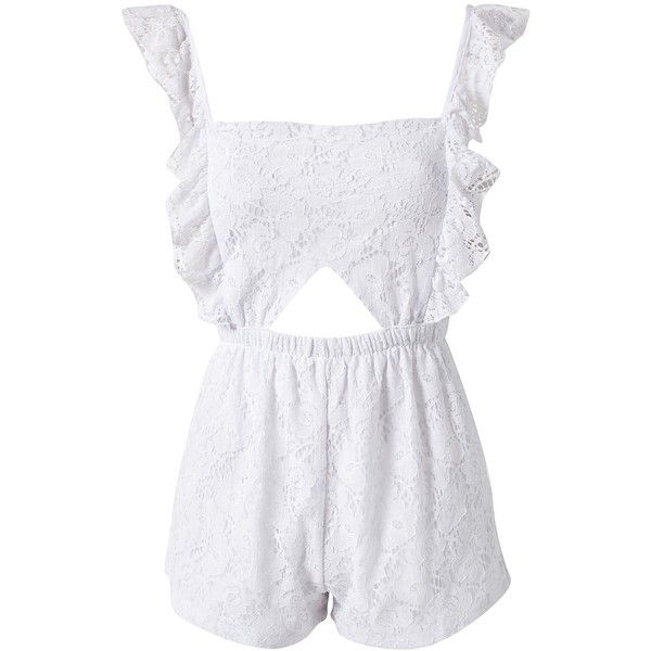 Reverse Lace Playsuit (£20) ❤ liked on Polyvore featuring jumpsuits, rompers, dresses, playsuit, white, white lace romper, tall romper, lace jumpsuit, ruffle romper and white jumpsuit romper