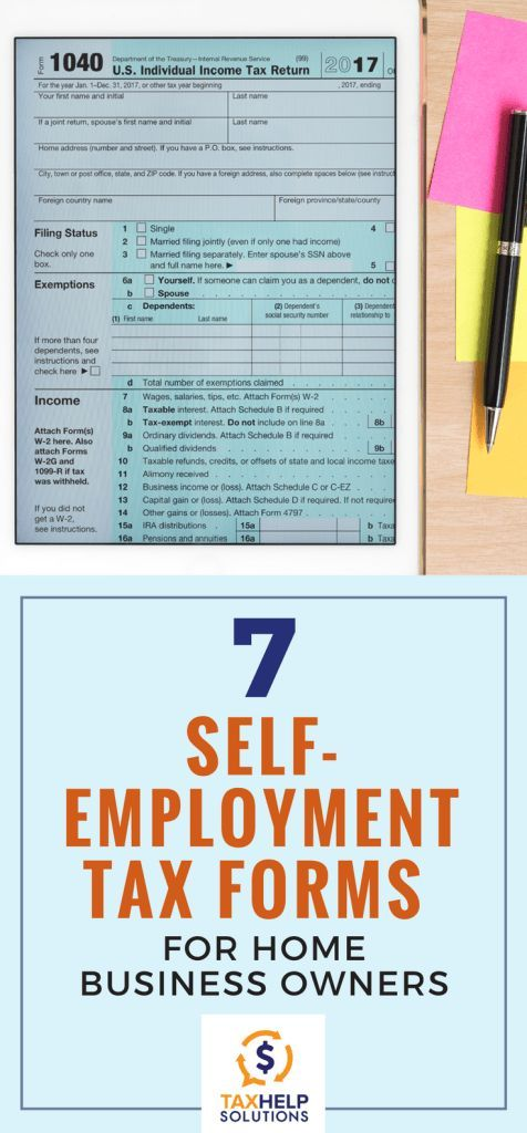 7 Self Employment Tax Forms For Home Business Owners Small