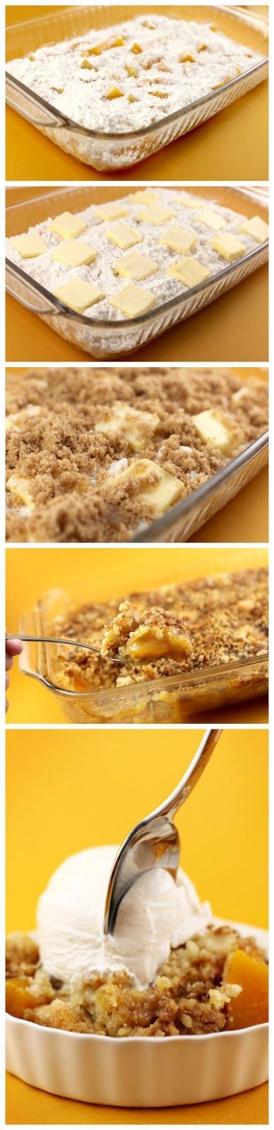 Ridiculously Easy 24.5 oz jar of sliced peaches in light syrup 1 package yellow cake mix 1 stick butter (1/2 cup) cut into 16 pieces 1 cup brown sugar 1/2 cup chopped walnuts Read full recipeson:bakerella