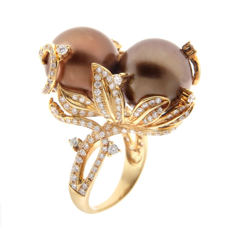 Diamonds Set in 18K Yellow Gold Carry Two 14mm Brown Pearls. — with P507539