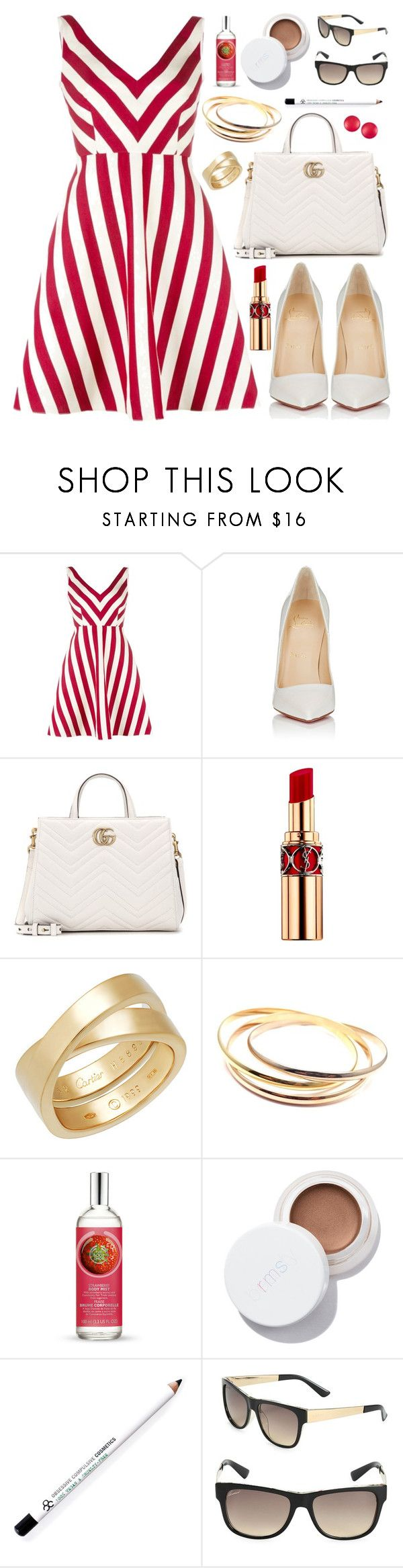 """""""#1509"""" by ar0und-the-w0rld ❤ liked on Polyvore featuring RED Valentino, Christian Louboutin, Gucci, Yves Saint Laurent, Cartier, The Body Shop, Obsessive Compulsive Cosmetics and Charles Jourdan"""