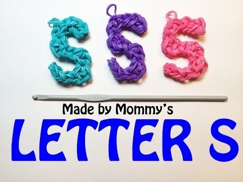 Rainbow Loom LETTER S Charm (no loom). Designed and loomed by Made By Mommy. Click photo for Youtube tutorial. 04/05/14