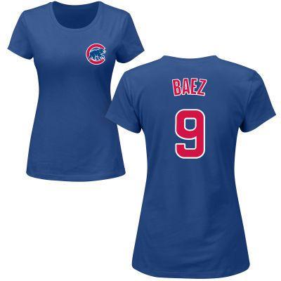 Womens Chicago Cubs #9 Javier Baez Blue Majestic Royal Custom Roster Name & Number Blue T-Shirt