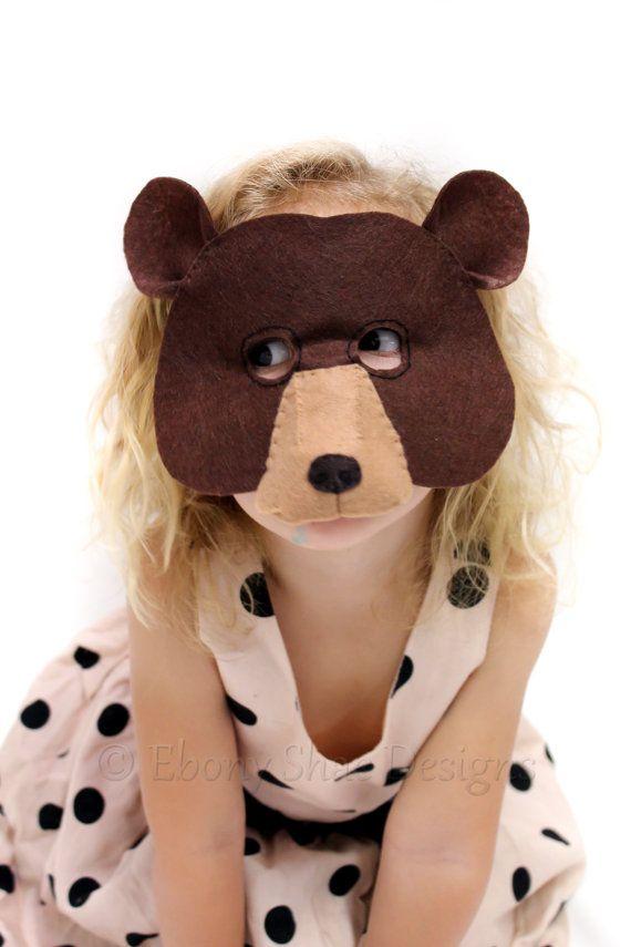Felt Bear Mask PATTERN Kids felt Bear by EbonyShaeDesigns on Etsy