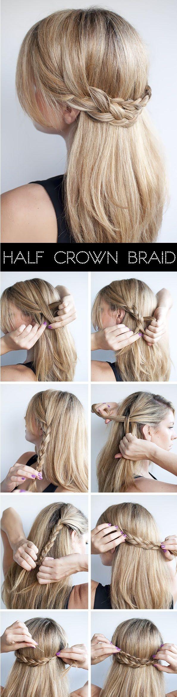 Half crown braid tutorial