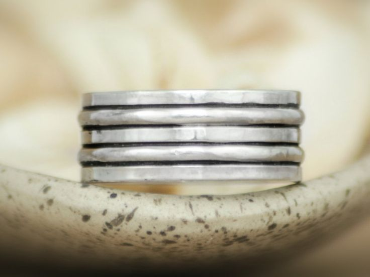 Stunning Geometric Wide Wedding Band In Sterling Wide Layered Silver Commitment Ring Men us or Women us