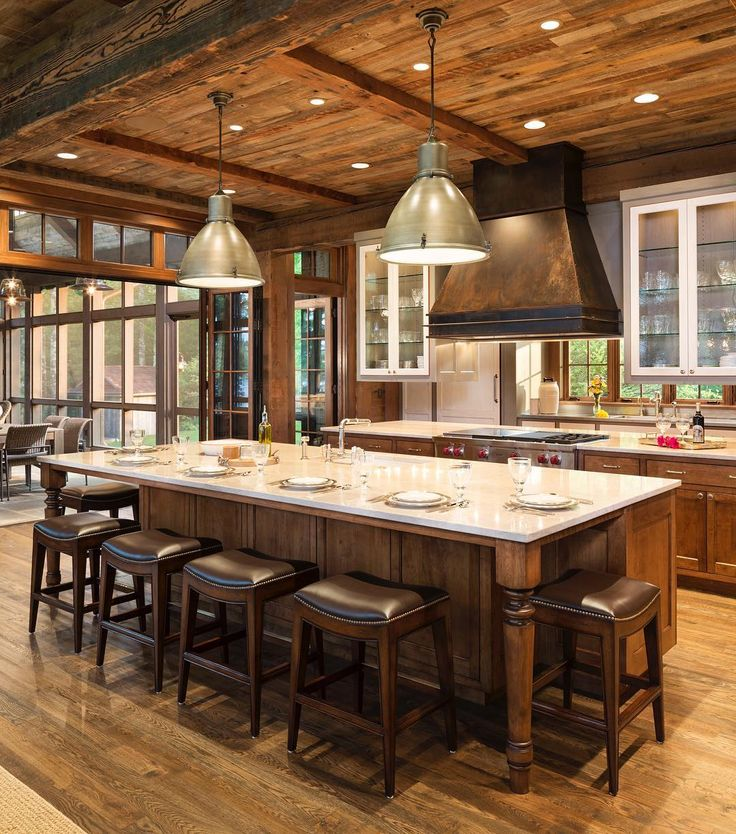 WARNING: If you love drywall, this photo is not for you! What do you think about this amazing rustic kitchen in a home built by @jkandsons in Northern Wisconsin? There is no Sheetrock in this entire home!