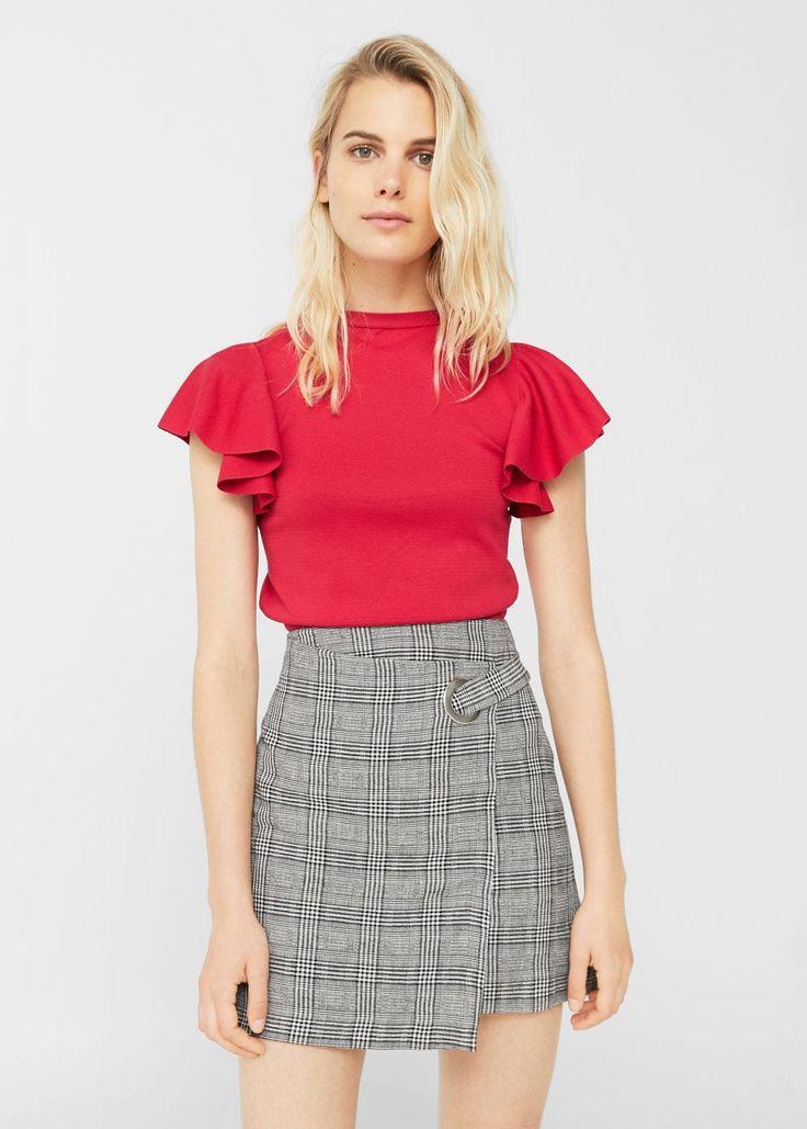 Check wrap skirt -  Women | MANGO USA