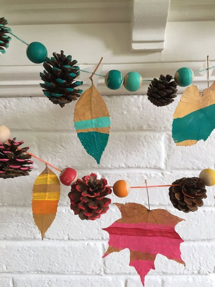 Leaf and bead garland - great autumn family friendly craft ideas in this post