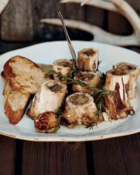 Grilled Marrow Bones with Rosemary-Lemon Bruschetta Recipe from Food & Wine  http://www.foodandwine.com/recipes/grilled-marrow-bones-with-rosemary-lemon-bruschetta  Pair with a syrah
