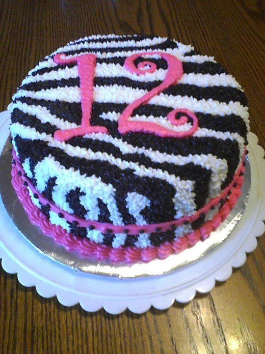 Zebra Striped Cake. Buttercream frosting instead of fondant