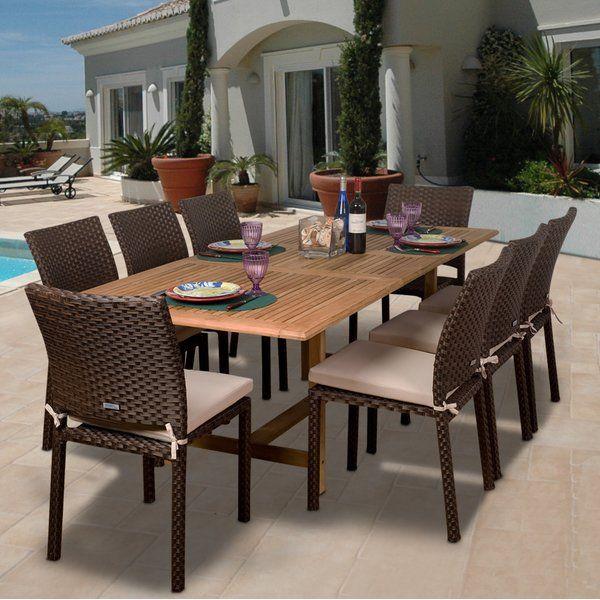 Arango 9 Piece Teak Dining Set With Cushions Teak Patio Furniture Patio Dining Set Patio Decor