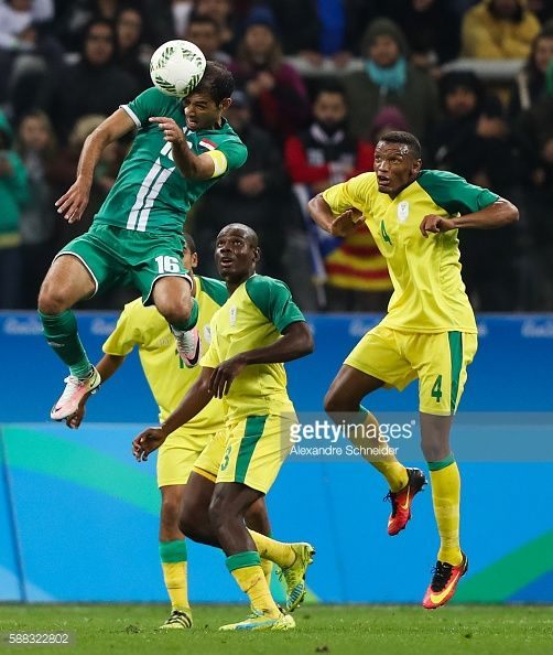 #RIO2016 Saad AbduAmir of Iraq in action during the match between South Africa and Iraq mens football for the Olympic Games Rio 2016 at Arena Corinthians on...