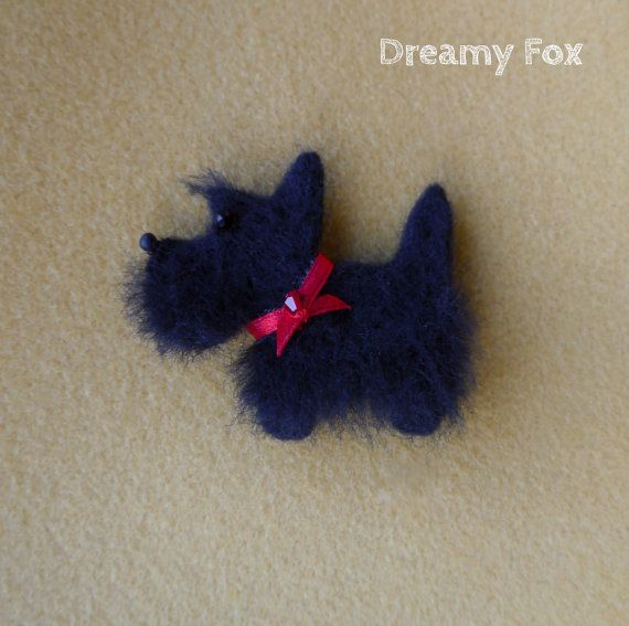 Needle felted Scottish terrier brooch. by DreamyFox on Etsy