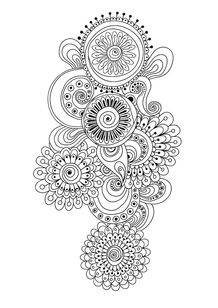 Zen Anti Stress Coloring Page Abstract Pattern Inspired By Flowers