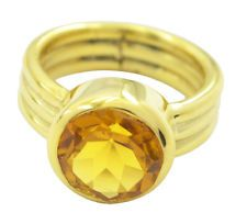 Citrine CZ Gold Plated Ring radiant Yellow exporter AU KMOQ