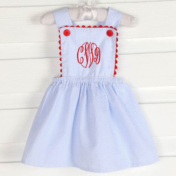 Piper Dress Light Blue Stripe Seersucker & Red - Girls Smocked Auctions