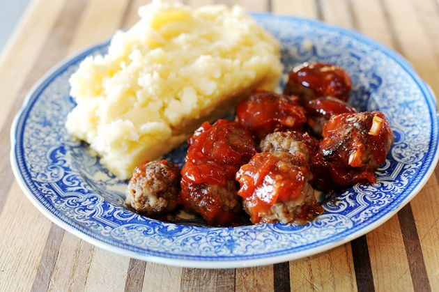 BBQ Comfort Meatballs (substitute eggs in place of milk. It has a similar effect once cooked)