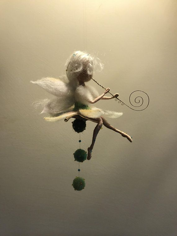 Needle felted Fairy, Waldorf inspired, Wool Music Fairy with flute, White fairy, Flower fairy, Art doll,Elf,Home decor, Gift, Doll miniature