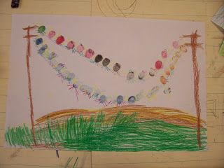 First students defined the horizon on their paper and then used a curved line to create some hills above the horizon line. This most reflec...