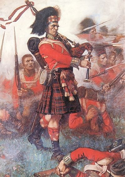 Piper Kenneth MacKay of the 79th Cameron Highlanders at the Battle of Waterloo, 1815.  In the heat of battle, Piper MacKay stepped from the protection of the ranks and began to play, Cogadh no Sith (War or Peace).  He was later presented a set of silver mounted pipes by the King for his act of bravery.