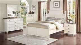 Floresville Antique White Wood 5pc Bedroom Set w/Queen Platform Bed