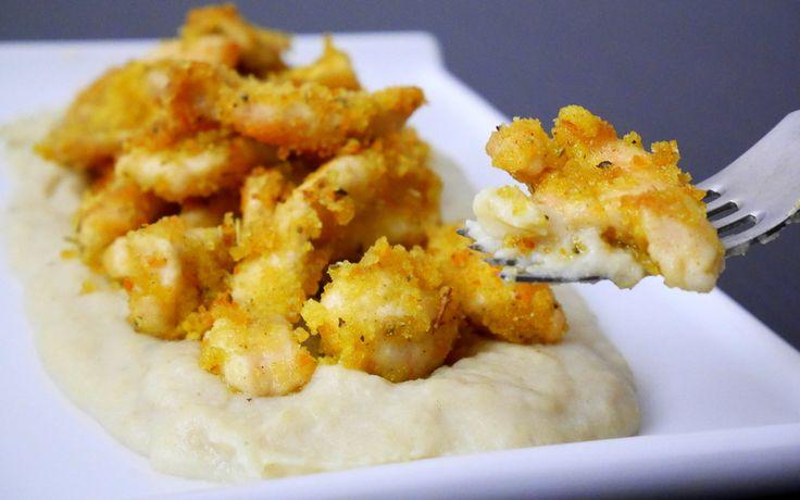 Straccetti di pollo alla senape su purea di cavolfiore