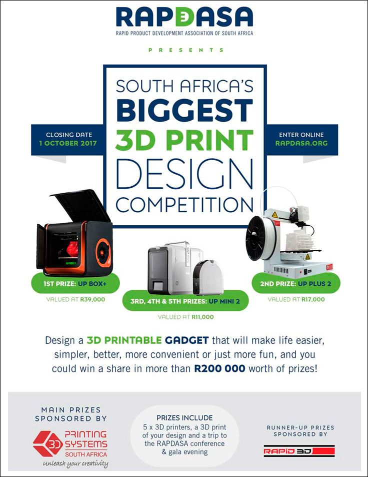 Last day to get entries in to RAPDASA 2017's competition - South Africa's biggest 3D Print Design Competition with great prizes to be won. http://www.rapid3d.co.za/last-call-rapdasa-3d-design-competition-submissions/?utm_campaign=coschedule&utm_source=pinterest&utm_medium=Rapid%203D&utm_content=Last%20Call%20for%20RAPDASA%203D%20Design%20Competition%20Submissions #3dprinting #3dprintcompetition #rapdasa