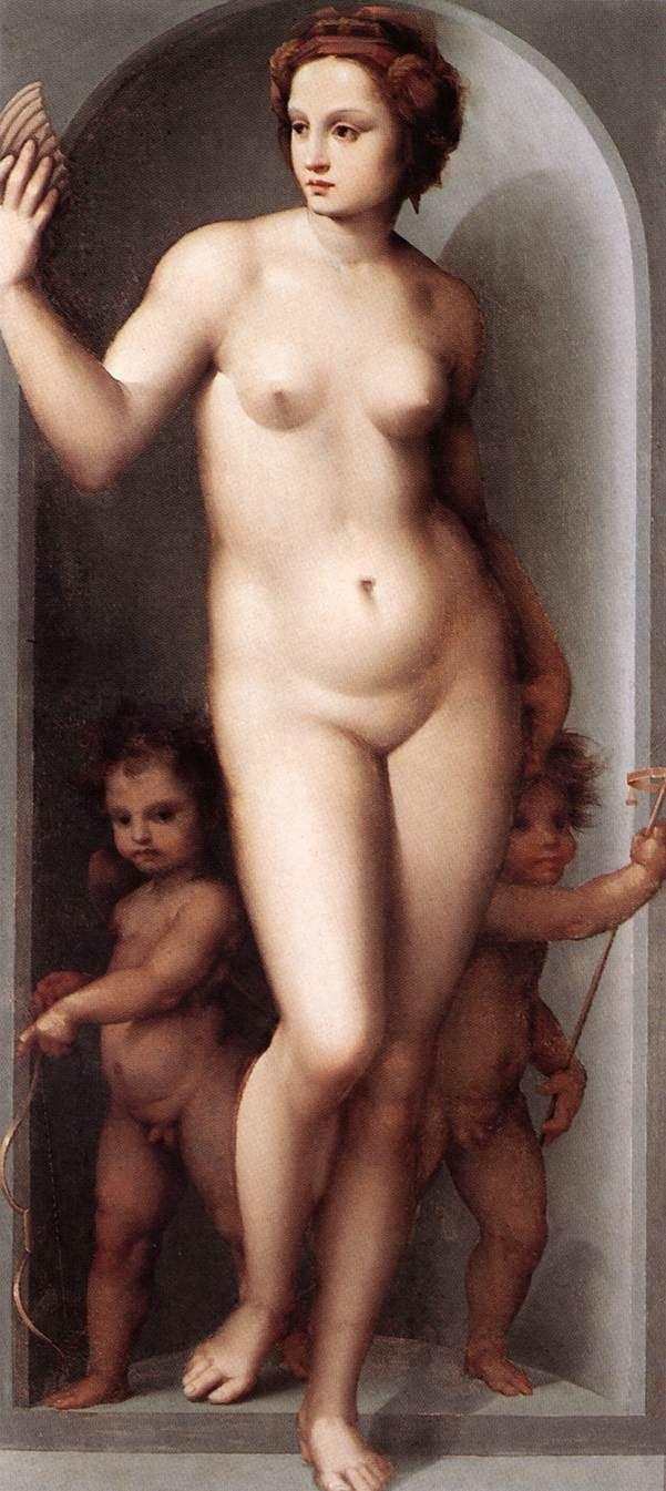 Venus and Two Cupids by Andrea del Brescianino, Oil on canvas