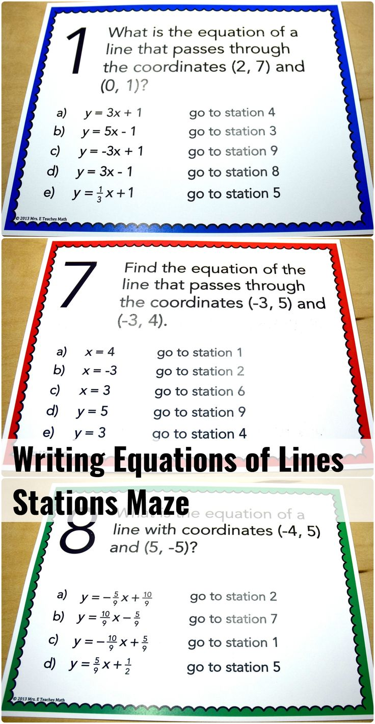 Writing Equations of Lines Stations Maze - an engaging activity for algebra students