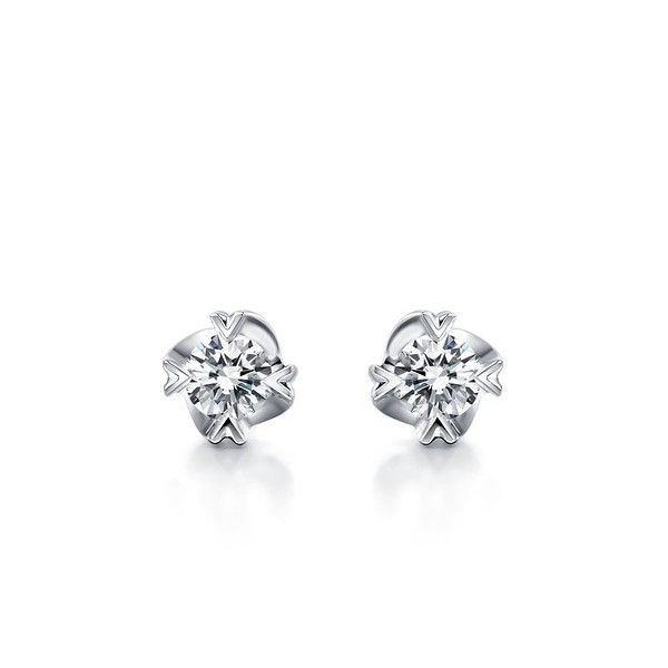 Perfect Solitaire Stud Earrings on 10k White Gold