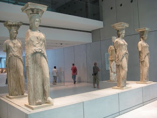 Karuatides statues placed in the new Acropolis museum. They supported part of the roof of Erectheion.