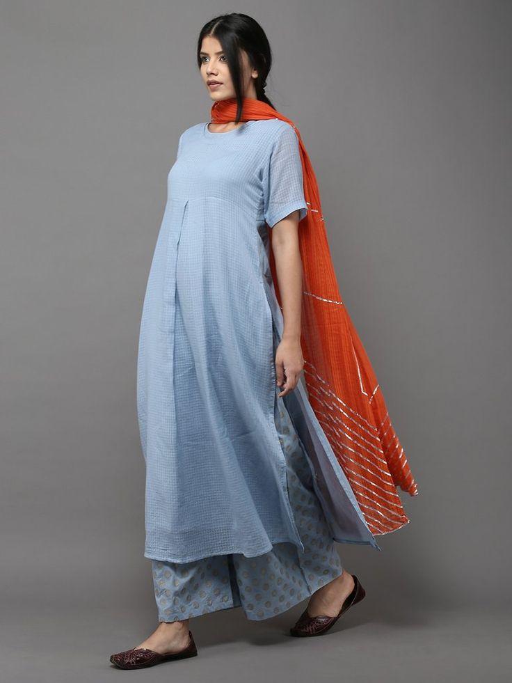 Blue Orange Cotton Suit - Set of 3