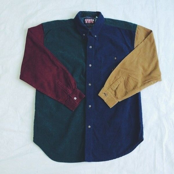 vintage 90's color button up 1OF1VINTAGE. ($29) ❤ liked on Polyvore featuring tops, button down tops, button up tops, blue top and vintage tops