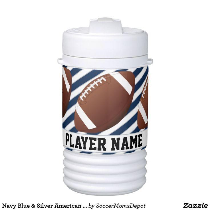Navy Blue & Silver American Football Player & Team Igloo Water Jug #football #navyblue #igloo #water #player #team #custom