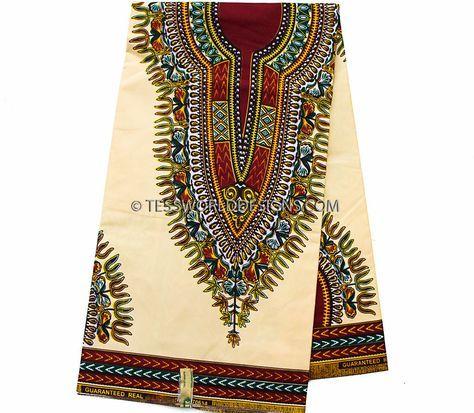 Beige Dashiki Fabric/ African Fabrics/ Ankara fabric/ Poly Cotton / Dashiki…