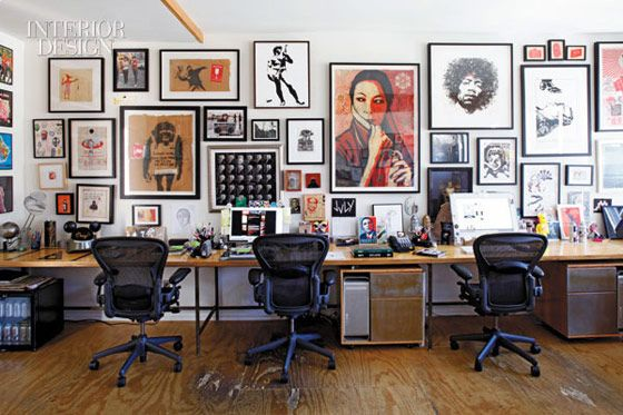 Shepard Fairey officeWork Area, Design Bedroom, Home Interiors, Offices Design, Design Interiors, Hotels Interiors, Interiors Design, Gallery Wall, Offices Wall