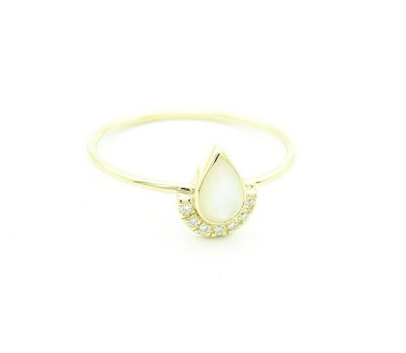 Pear Mother of Pearl & Diamond Ring Engagement Diamond by FRomaG