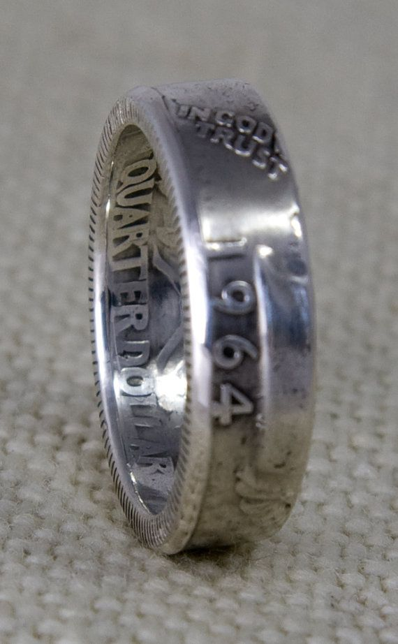 1964 90% Silver Washington US Quarter Dollar Double Sided 3D Coin Ring Wedding Band Sizes 3-13